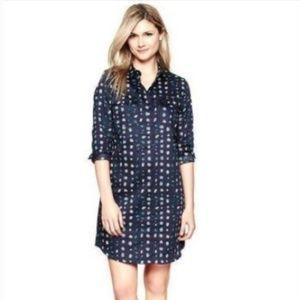 Gap Lady Bug Blue Print Shirt Dress small